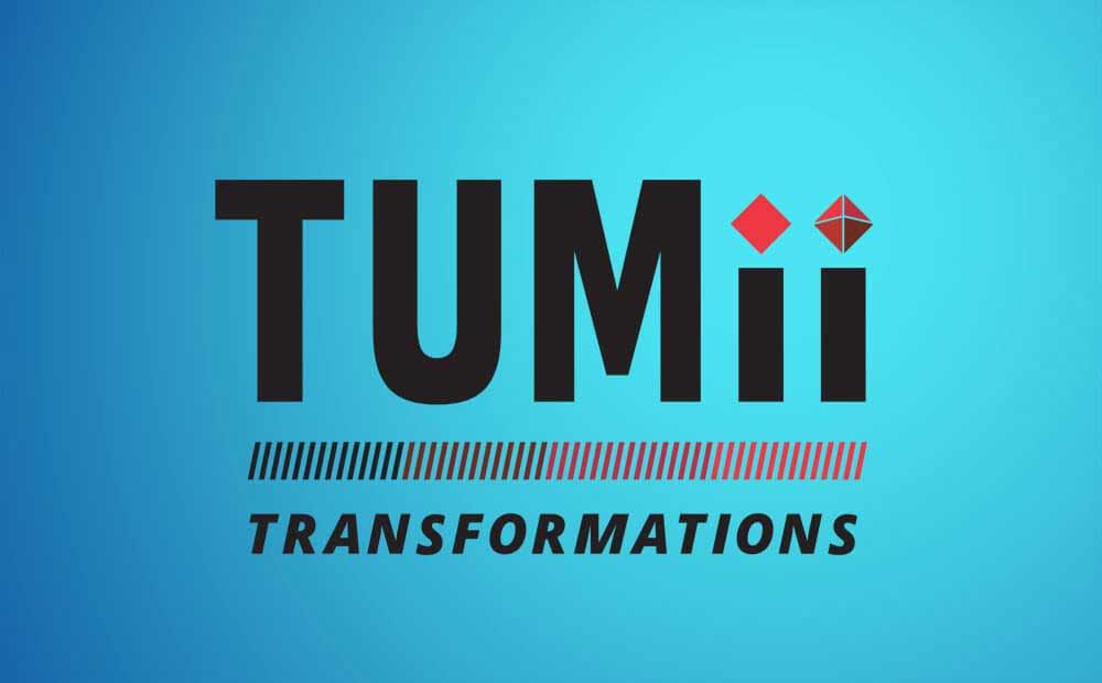 Tumii transformations logo in branded materials